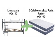Pack litera metálica mod. oasis + 2 colchónes Fénix junior 90x190