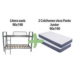Pack litera metálica mod. oasis + 2 colchones Fénix junior 90x190