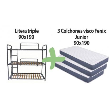 Pack litera metálica triple + 3 colchónes Fénix junior 90x190