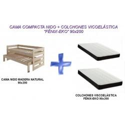 CAMA NIDO+2 COLCHONES VISCO FÉNIX-EKO 90x200