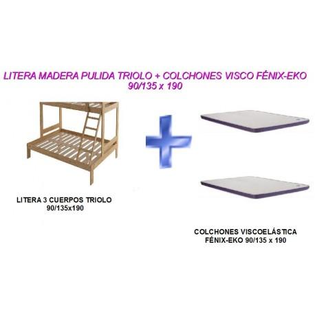 LITERA MADERA TRIOLO(matrimonio) + COLCHONES VISCOELÁSTICA 90/135x190