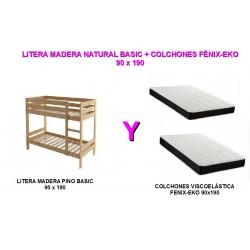LITERA MADERA BASIC + COLCHONES VISCOELÁSTICA FÉNIX-EKO 90x190