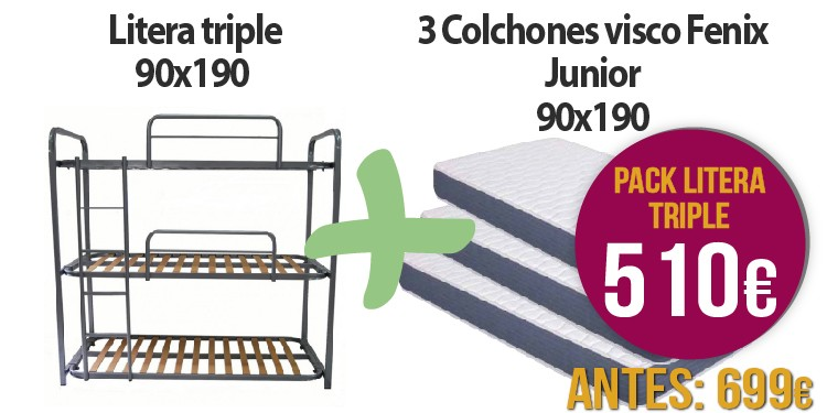 Litera Triple + 3 Colchones visco Fenix junior